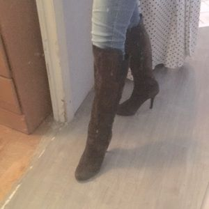 Isola grey suede talll heeled boots